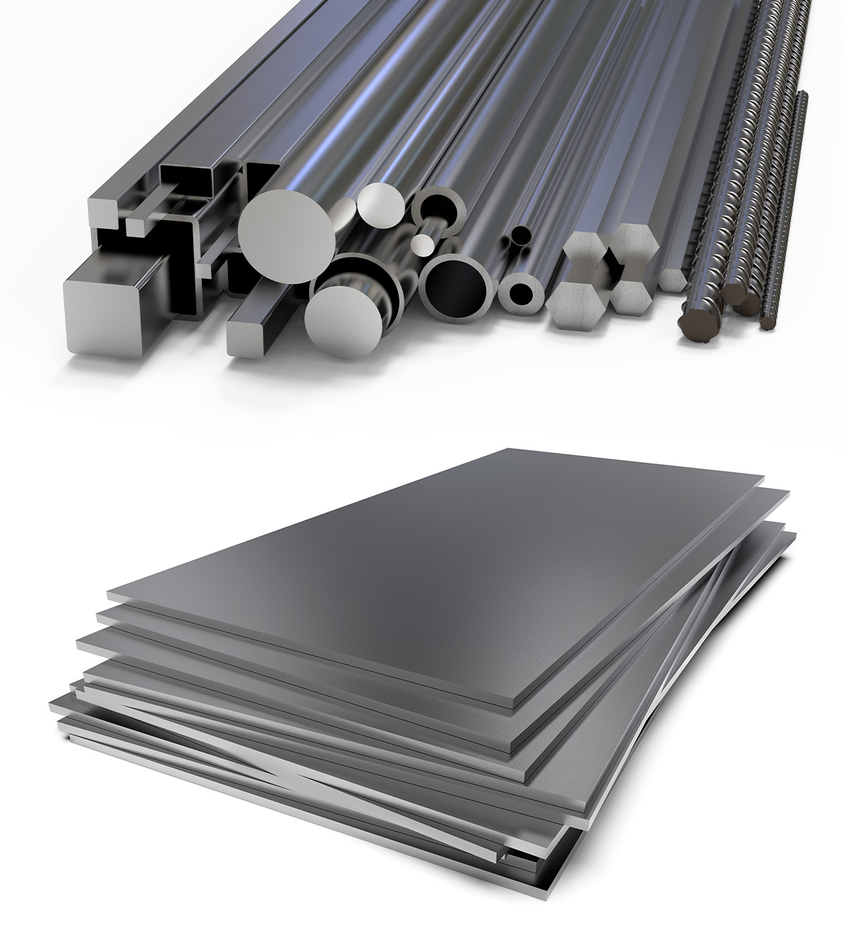 Steel tubes, rods and sheets